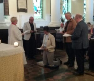 Together with other local clergy, Revd Jeanette prayed for Revd Leslsey t ohave a long and happy retirement