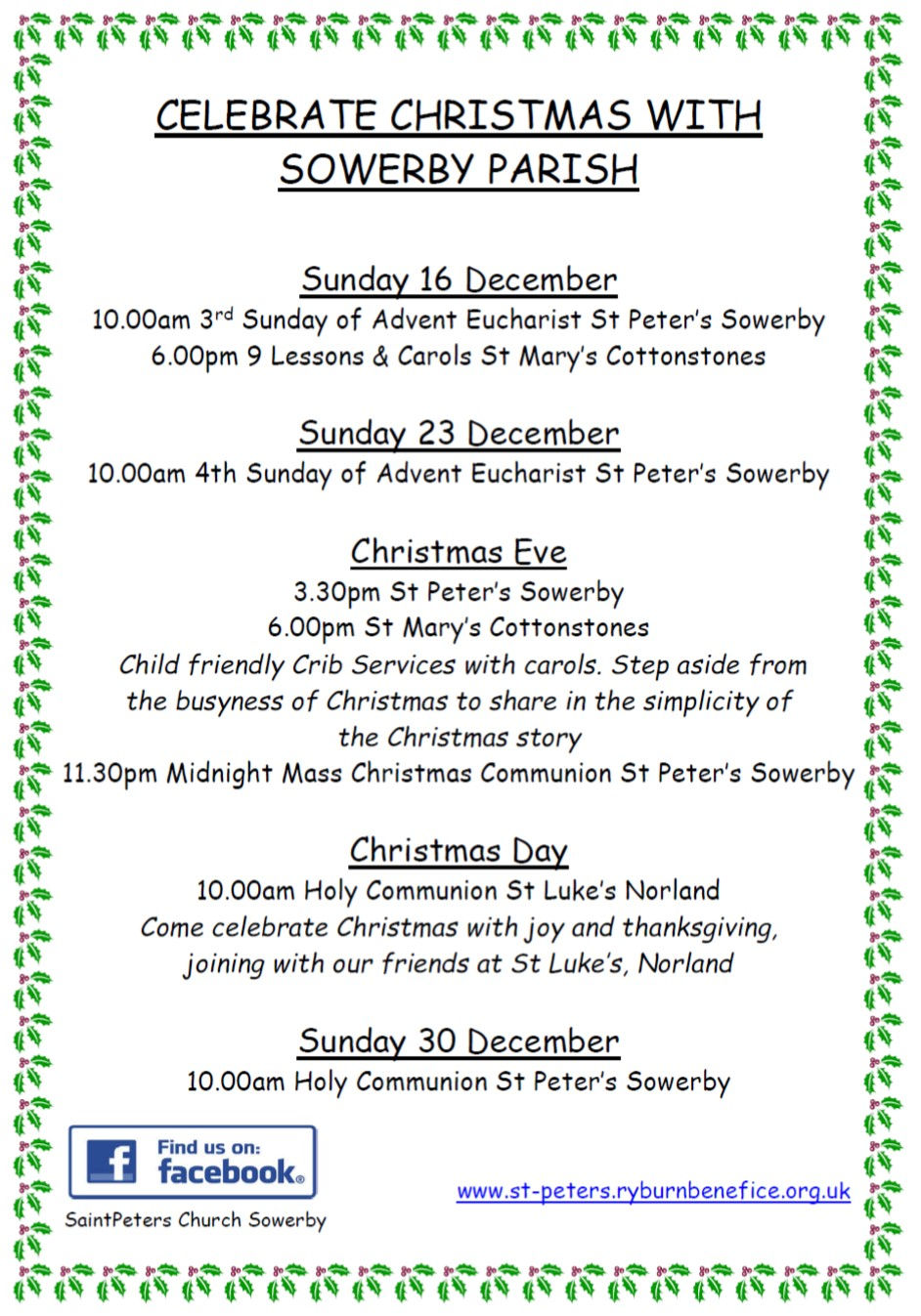 Celebrate Christmas in Sowerby 2018