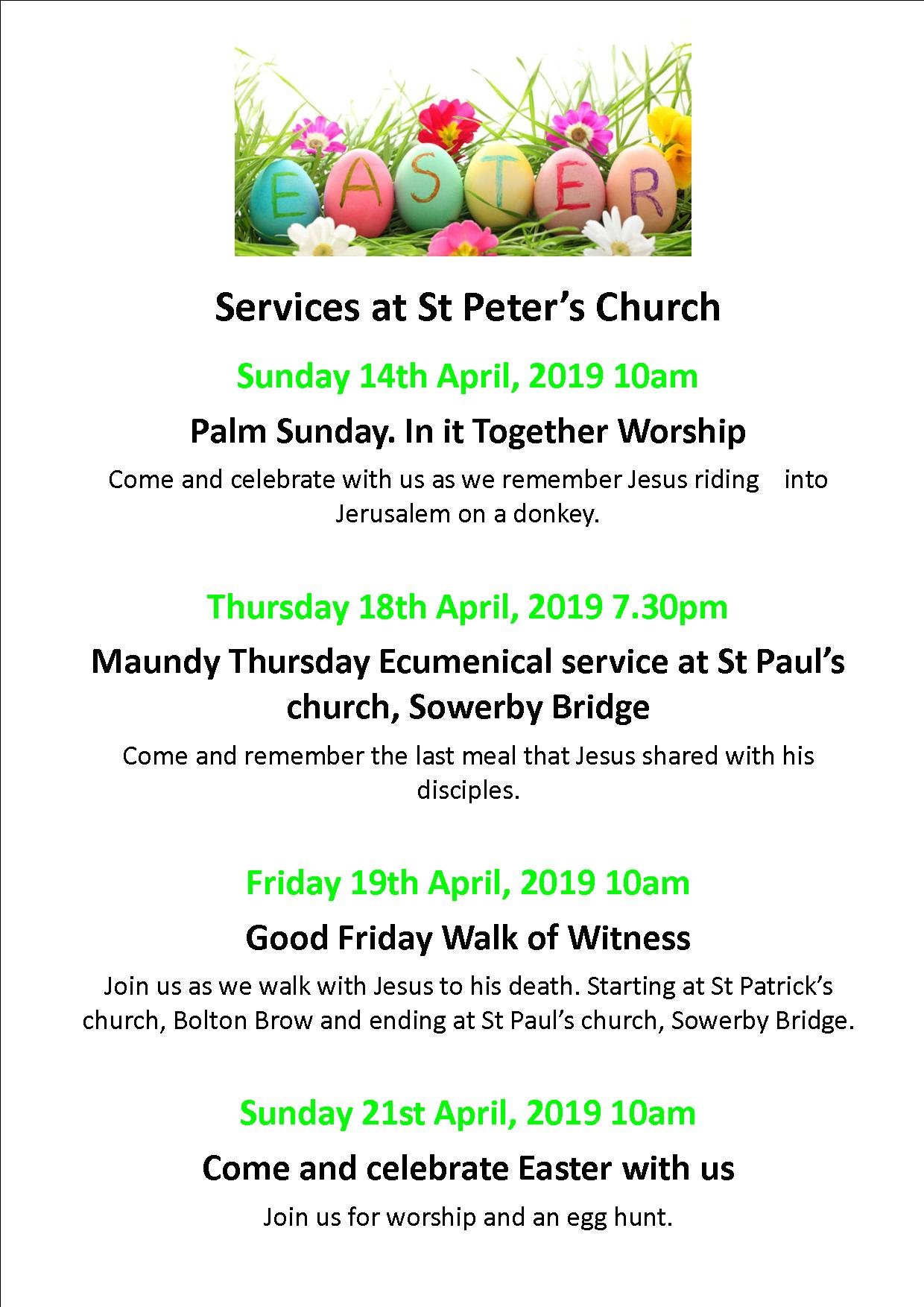 Easter poster St Peter's 2019