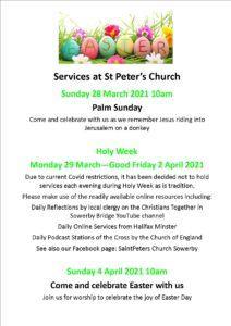 Easter poster St Peter's 2021
